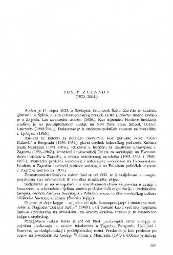 Josip Županov (1923.-2004.) : [nekrolog] / Zvonko Lerotić