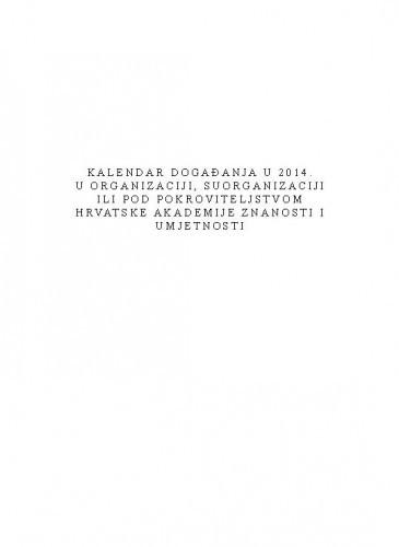 Kalendar događanja u 2014. u organizaciji, suorganizaciji ili pod pokroviteljstvom Hrvatske akademije znanosti i umjetnosti