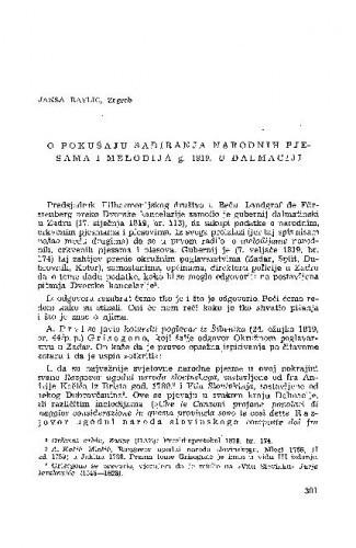 O pokušaju sabiranja narodnih pjesama i melodija g. 1819. u Dalmaciji / J. Ravlić