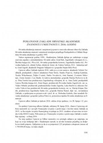 Poslovanje Zaklade Hrvatske akademije znanosti i umjetnosti u 2016. godini