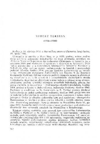 Robert Tertian (1916-1988) : [nekrolozi] / S. Ceillere, O. Lahodny-Šarc