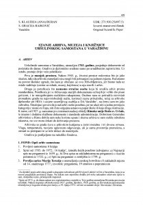 Stanje arhiva, muzeja i knjižnice Uršulinskog samostana u Varaždinu