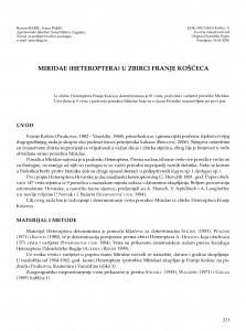 Miridae (Heteroptera) u zbirci Franje Košćeca / Božena Barić ; Ivana Pajač