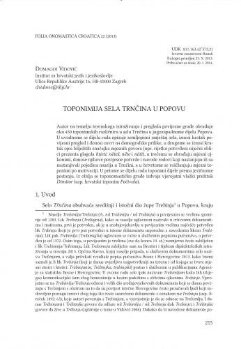 Toponimija sela Trnčina u Popovu / Domagoj Vidović
