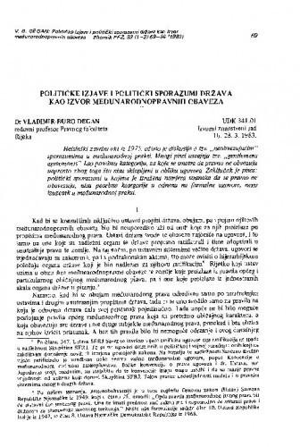 Političke izjave i politički sporazumi država kao izvor međunarodno-pravnih obveza / Vladimir-Đuro Degan