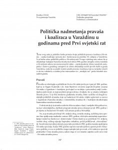 Politička nadmetanja pravaša i koaliraca u Varaždinu u godinama pred Prvi svjetski rat / Đurđica Cesar