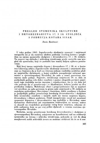 Pregled spomenika skulpture i drvorezbarstva 17. i 18. stoljeća s područja kotara Sisak / D. Baričević