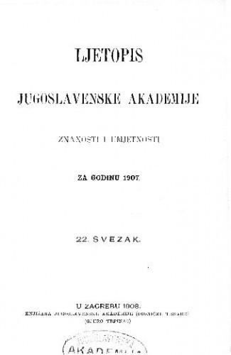Za godinu 1907. Sv. 22
