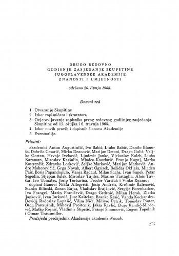 Drugo redovno godišnje zasjedanje Skupštine Jugoslavenske akademije znanosti i umjetnosti održano 20. lipnja 1968.