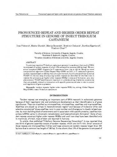 Pronounced repeat and higher order repeat structure in genome of insect Tribolium castaneum / Ines Vlahović, Matko Glunčić, Marija Rosandić, Krešimir Dekanić, Đurđica Ugarković, Vladimir Paar