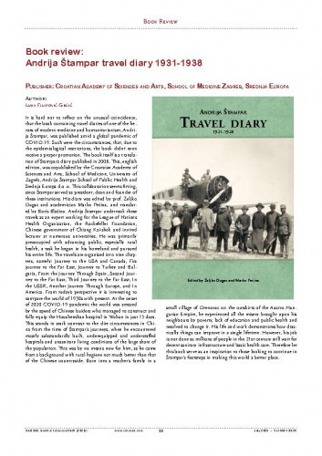 Andrija Štampar travel diary 1931-1938 : Publisher: Croatian Academy of Sciences and Arts, School of Medicine Zagreb, Srednja Europa ; Book Review / Luka Filipović-Grčić