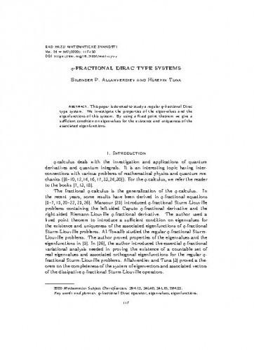 q-fractional Dirac type systems / Bilender P. Allahverdiev and Hüseyin Tuna