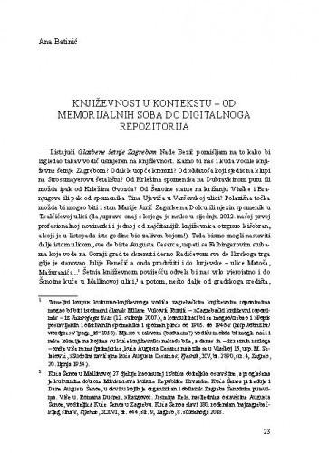 Književnost u kontekstu – Od memorijalnih soba do digitalnoga repozitorija / Ana Batinić