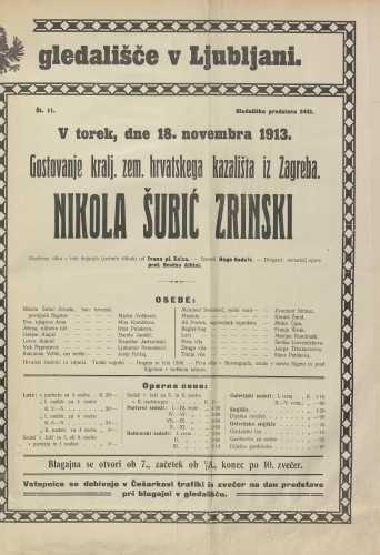 Nikola Šubić Zrinjski Glazbena slika u tri čina (sedam) slika