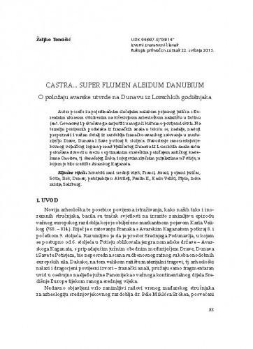Castra... super flumen albidum Danubium - O položaju avarske utvrde na Dunavu iz Lorschkih godišnjaka