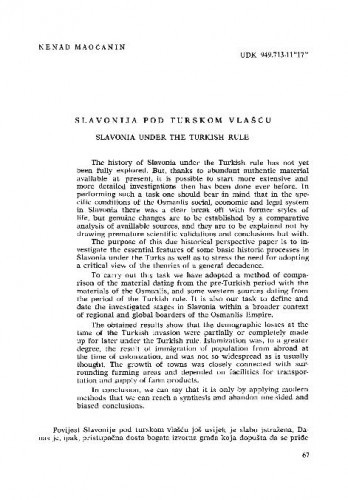 Slavonija pod turskom vlašću