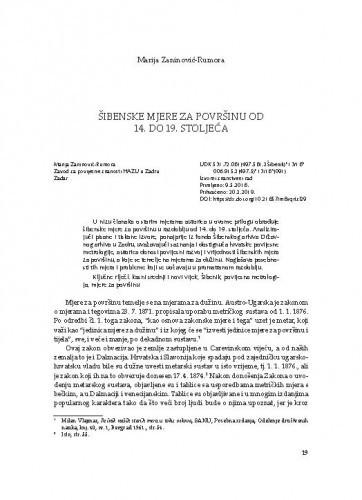 Šibenske mjere za površinu od 14. do 19. stoljeća / Marija Zaninović Rumora