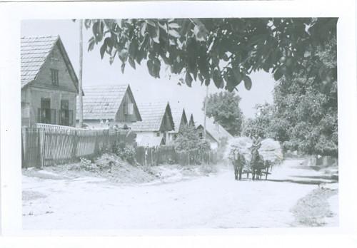 Huzjak, Višnja  : Pogled na selo. Putem dolaze kola sa snopovima žita, koje se vozi s polja kući. [Huzjak, Višnja  ]