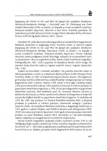 Begegnung der Kirche in Ost und West im Spiegel der synodalen Strukturen. Historisch-theologische Beitrage — Festschrift zum 70. Geburtstag von Petar Vrankić (Susretanje Crkve na Istoku i na Zapadu u zrcalu sinodalnih struktura. Povijesno-teološki doprinosi. Zbornik u čast Petru Vrankiću povodom 70. rođendana), priredili Johannes Grohe, Gregor Wurst, Zvjezdan Strika, Hermann Fischer, EOS-Verlag Sa : [prikaz] / Tado Oršolić