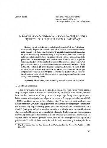 O konstitucionalizaciji socijalnih prava i njihovu slabljenju prema sadržaju