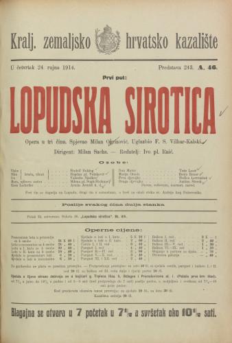 Lopudska sirotica : Opera u tri čina