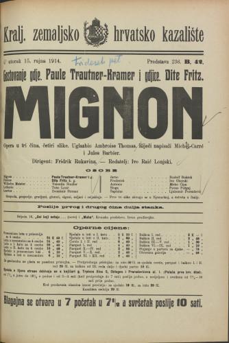 Mignon : Opera u tri čina, četiri slike