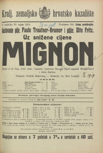 Mignon Opera u tri čina, četiri slike