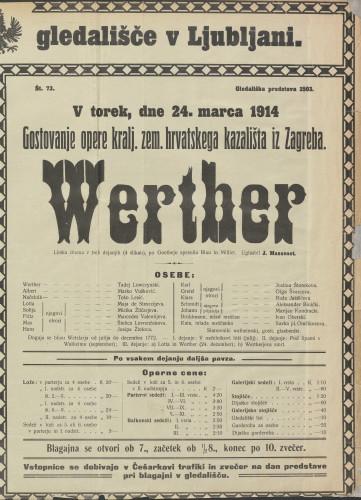 Werther Lirska drama v treh dejanjih (4 slikah)
