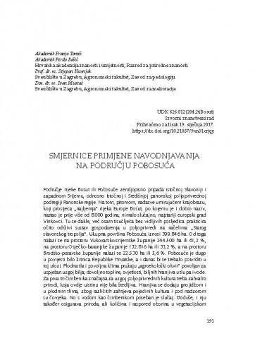 Smjernice primjene navodnjavanja na području Pobosuća / Franjo Tomić, Ferdo Bašić, Stjepan Husnjak, Ivan Mustać