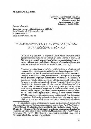 O nadslovcima na hrvatskim riječima u Vrančićevu rječniku / Bojan Marotti