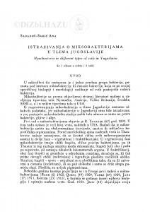 Istraživanja o miksobakterijama u tlima Jugoslavije / A. Sabadoš-Šarić