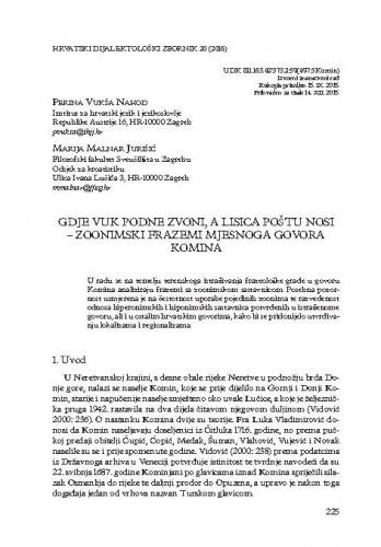 Gdje vuk podne zvoni, a lisica poštu nosi - zoonimski frazemi mjesnoga govora Komina / Perina Vukša Nahod, Marija Malnar Jurišić