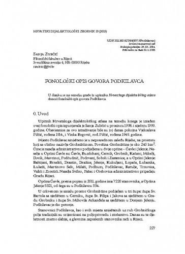 Fonološki opis govora Podkilavca / Sanja Zubčić