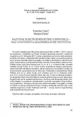 Razvitak elektroenergetike u Hrvatskoj - rad i postignuća akademika Bože Udovičića / Radoslav Galić, Marijan Kalea