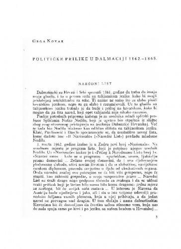 Političke prilike u Dalmaciji 1862.-1865. / Grga Novak