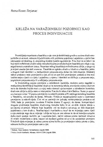 Krleža na varaždinskoj pozornici kao proces individuacije / Vesna Kosec-Torjanac