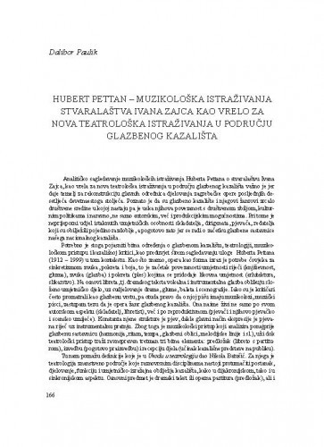 Hubert Pettan - muzikološka istraživanja stvaralaštva Ivana Zajca kao vrelo za nova teatrološka istraživanja u području glazbenog kazališta / Dalibor Paulik