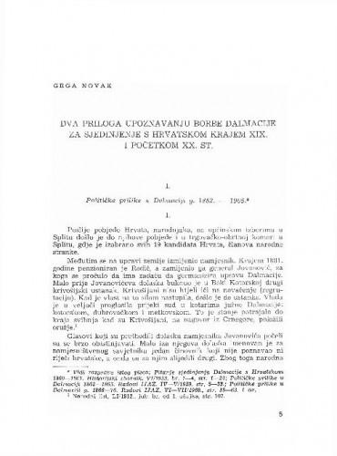 Dva priloga upoznavanju borbe Dalmacije za sjedinjenje s Hrvatskom krajem XIX. i početkom XX. stoljeća / Grga Novak