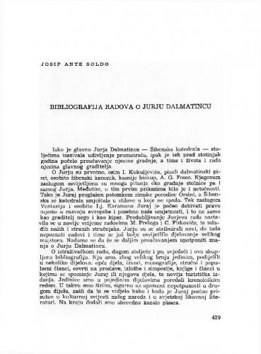 Bibliografija radova o Jurju Dalmatincu / Josip Ante Soldo