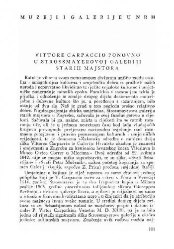 Vittore Carpaccio ponovno u Strossmayerovoj galeriji starih majstora / Veno Zlamalik