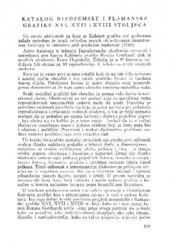 Katalog nizozemske i flamanske grafike XVI, XVII i XVIII stoljeća / Lj. Gašparović