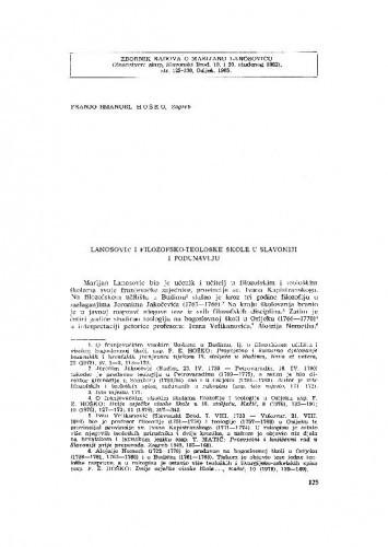 Lanosović i filozofsko teološke škole u Slavoniji i Podunavlju / F. E. Hoško