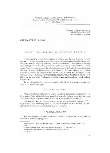 Pogled u frazeologiju Reljkovićeva Satira / Ljiljana Kolenić