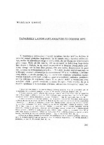 Zadarske laude (aklamacije) iz godine 1677. / Marijan Grgić
