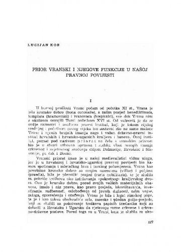 Prior vranski i njegove funkcije u našoj pravnoj povijesti / Lucijan Kos