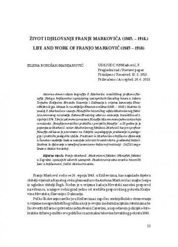 Život i djelovanje Franje Markovića (1845.-1914.) / Jelena Borošak-Marijanović