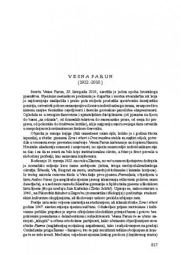 Vesna Parun (1922.-2010.) : [nekrolog] / Tonko Maroević