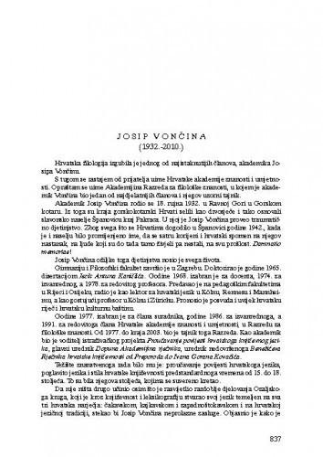 Josip Vončina (1932.-2010.) : [nekrolog] / Petar Šimunović