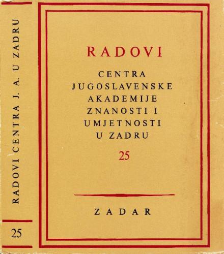 Sv. 25(1978) : Radovi Centra Jugoslavenske akademije znanosti i umjetnosti u Zadru