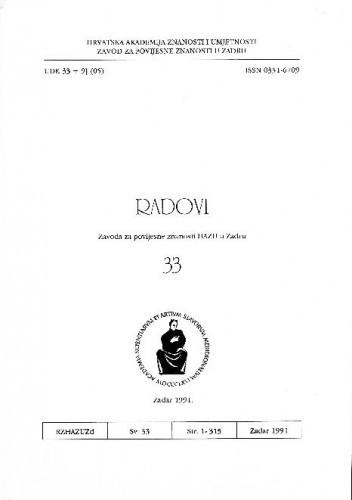 Sv. 33(1991) : Radovi Zavoda za povijesne znanosti HAZU u Zadru